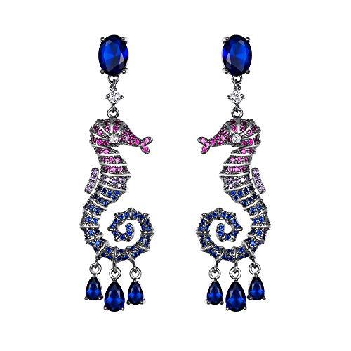 EVER FAITH Pendientes de caballito de mar CZ Prom Party joyas de gota vivas con animales perforados con circonita cúbica, color azul y negro