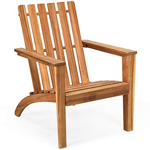 Giantex Wooden Adirondack Chair W/Ergonomic Design Outdoor Chair for Yard, Patio, Garden, Poolside, Balcony, Accent Furniture Armchair (1, Burlywood)
