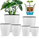 Plant pots,Lvetek 6pcs Flower Pot with Self Watering Planter(7.3/6.1/5.4/4.8/4.1/3.5inch), Double-Layer Inner Pot with Wick Indoor for Succulent,Flowers,Herbs,All House Plants ,White