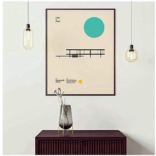 Bauhaus Exposición Farnsworth House Poster Minimal Art Canvas Print Arquitectura abstracta Pintura Cuadro de pared para sala de estar 50x60cm (20x24in) Sin marco