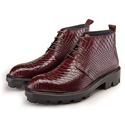 Botas de tobillo para hombre de moda para motociclista, con cordones, botas de combate de cuero genuino, botas de motocicleta para hombre, botas de Martin, zapatos casuales, B, 40