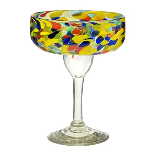 Amici Home, , Carnaval Margarita Drinking Glass, Imbedded Opaque Beads, Recycled Handblown Artisanal Mexican Tabletop Glassware, 15 Ounce Capacity, Set of 4