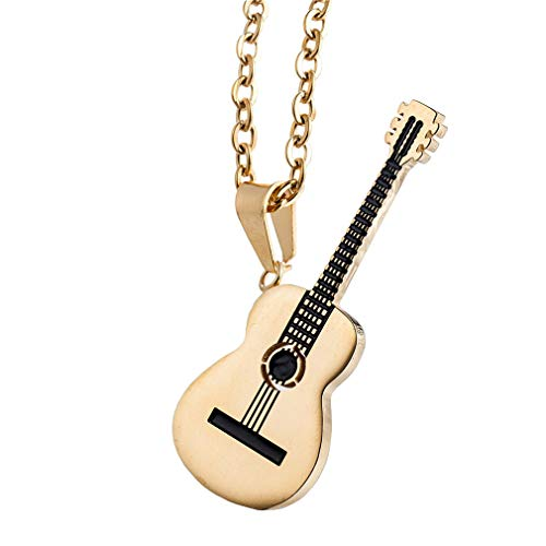 OKKY Joyería Amante de la Música Clásica Guitarra Colgante Encanto Collar Unisexo Acero Inoxidable, Todo Oro con Oro Cadena