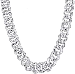 Goodern Men's Iced Out Hip-Hop Silver Tone Bling Bling Rappers Cuban Link Chain Choker Necklace 18 inches