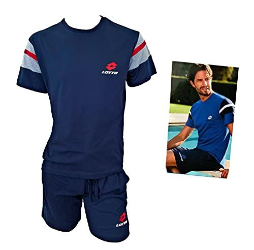 Lotto Completo Uomo Sportivo, T-Shirt + Pantaloncino, Completo Uomo Estivo in Cotone, Pigiama Uomo Corto Estivo Homewear (5083 Blu, XL, x_l)