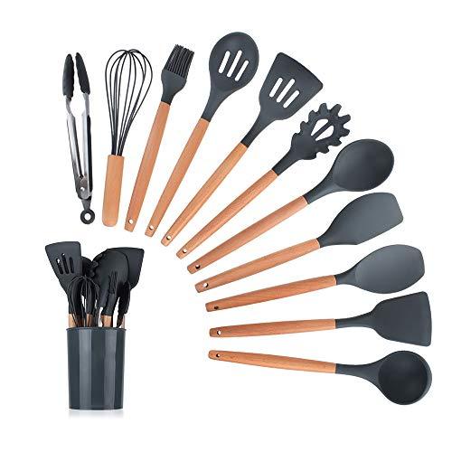 Wooden Handle Silicone Spatula Soup Spoon Kitchenware Kitchen Utensil Set Cooking Tools Kitchen Set Kitchen Gadgets 11 Sets Black