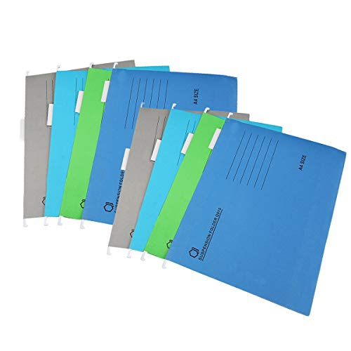 Carpetas colgantes para archivos, 8 unidades, A4 para organización de archivos de oficina (azul, verde, gris, azul claro)