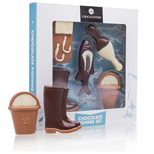 Fischerset aus Schokolade - Set aus Vollmilch-, weißer und Zartbitterschokolade | Anglerset | Geschenkidee | Hobby | Geburtstagsgeschenk |Vatertagsgeschenk | Schokolade