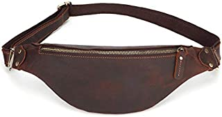 TOOGOO Crazy Horse Leather Waist Packs for Men Travel Fanny Pack 120Cm Belt Length Male Small Waist Bag for Phone Pouch Dark Brown