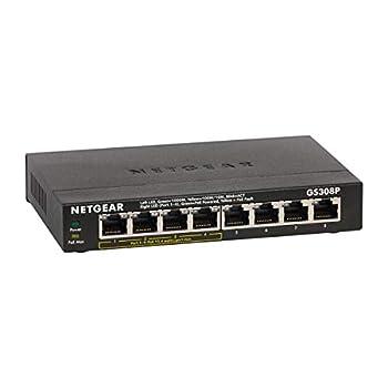 NETGEAR 8-Port Gigabit Ethernet Unmanaged PoE Switch  GS308P  - with 4 x PoE @ 53W Desktop or Wall Mount