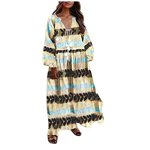YANFANG Vestido Bohemia,Vestido Largo Informal De Manga Larga con Estampado Floral Playa Bohemia Verano para Mujer,Vestidos Mujer Volantes Casual Cruzado Columpio Plisado Mini,Amarillo,XL