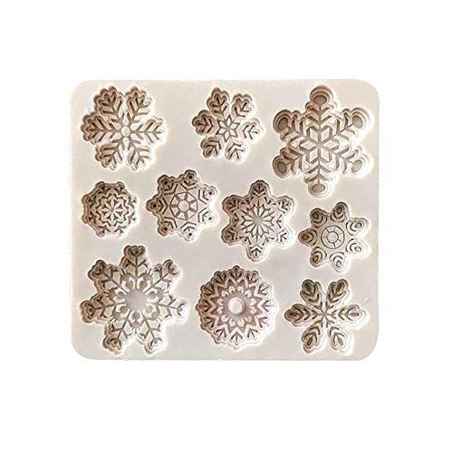 Snowflake Shape Silicone Baking Chocolate Cake Mould, 3D Love Dessert Tools for Handmade Ice DIY Wax Melt Molds DIY Silicone Baking Cake Molds Kitchen Baking Tools and Halloween Favors (10-Cavity)