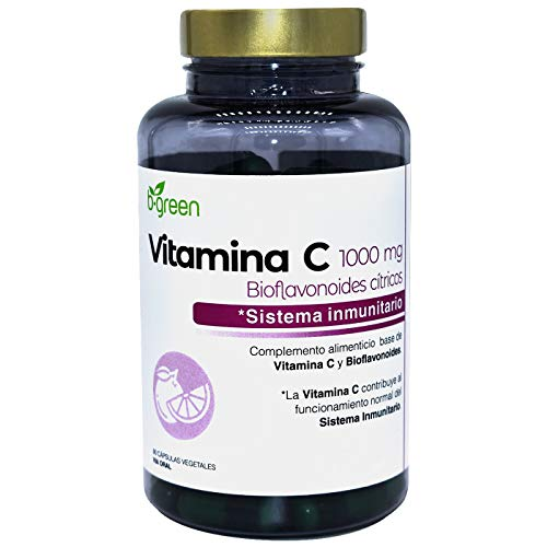 VITAMINA C Pura + Bioflavonoides.ANTIOXIDANTE Refuerza Sistema Inmune y Reduce el Cansancio y Fatiga.Mejora Sistema Nervioso.Tonificación de la Piel.90 cápsulas vegetales.B.GREEN-Laboratorios LEBUDIT