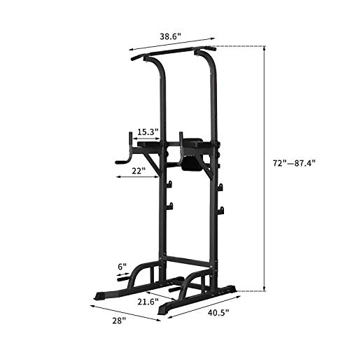 ZENOVA Height Adjustable Power Tower Power Rack with Weight Bench