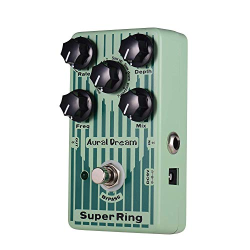 MIEMIE Bell Sound Effect Pedal, 6 Wave 2 Ringing Mode with Vibrato Function Super Ring Guitar Effect Pedal, Aluminum Alloy Case True Bypass Dual Power Supply
