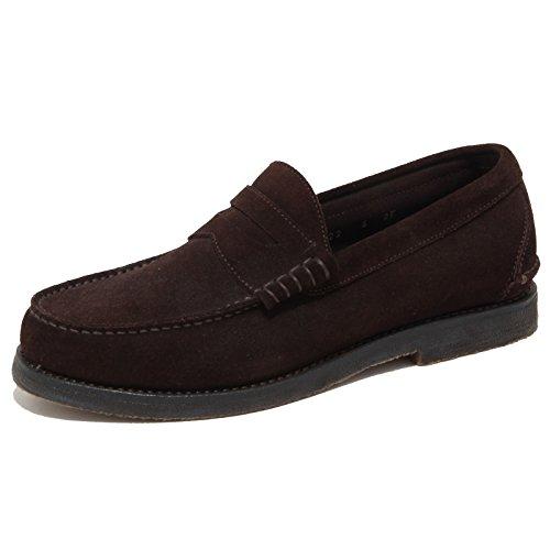 FERRAGAMO 6669N Mocassino Uomo Salvatore Spalato Marrone Shoes Man [40]