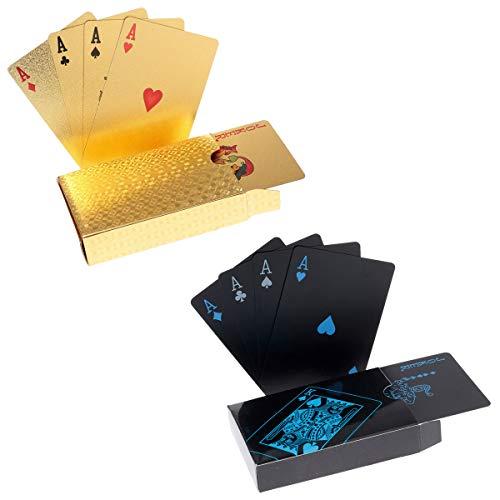 Oumezon 2 STÜCK Playing Cards wasserfeste Profi Plastik Pokerkarten Kartenspiele Spielkarten für Texas Holdem Poker Plastik Familienparty Spiel Playing Cards