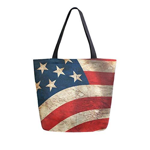 BIGJOKE Canvas Tote Bag American Flag USA Print Große Frauen Casual Schultertasche Handtasche Wiederverwendbar Shopping Lebensmittel Tragbare Aufbewahrungstasche für Outdoor