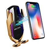 KMI CHOU R2 Wireless Car Charger,Automatic Clamping IR Intelligent Wireless Car Charger Mount - Car Charger Holder 10W Fast Charging for iPhone Xs Max/XR/X/8/8Plus Samsung S10/S9/S8/Note 8(Gold)