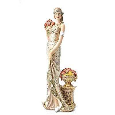 """Comfy Hour 13"""" Elegant Slim Lady Holding A Bunch of Flowers Collectible Figurine, Gold"""