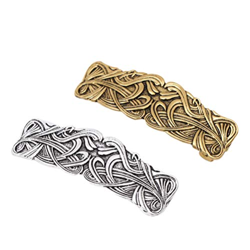 Lurrose 2PCS Celtic Knots Hair Clips Viking Vintage Crafted Metal Spring Hair Barrette Hairpins Headwear for Girls Ladies Women