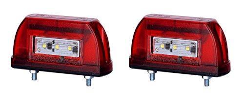 2 x 5 LED Kennzeichenleuchte 12V 24V mit E-Prüfzeichen Nummernschildleuchte Kennzeichenbeleuchtung Kennzeichen Auto SMD Rück Hinten Paar LKW PKW KFZ