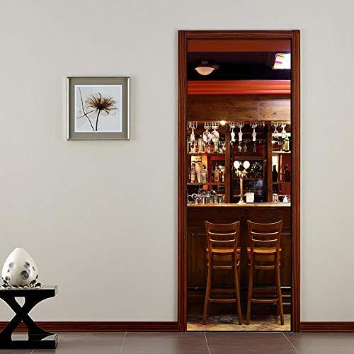JIANXIQT deurstickers voor binnendeuren, citaat muurstickers Scandinavische 3D Bar glazen deurstickers abstracte art stickers voor woonkamer bar kast schuifdeur decoratie huisdecoratie 90x200cm