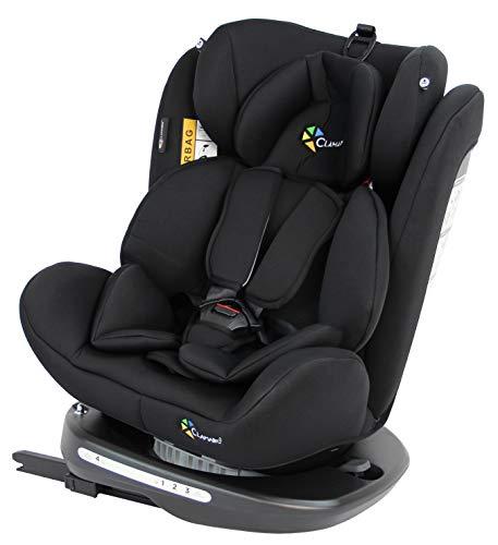 Clamaro 'Ranger 360' 4in1 Isofix Autokindersitz Gruppe 0+, I, II und III (0-36 kg) 360° drehbar, mitwachsender Baby- und Kinderautositz 0 bis 12 Jahre, verstellbare Kopfstütze und Rückenlehne, black