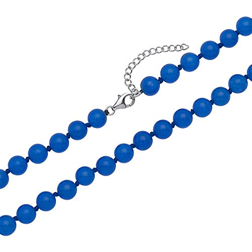 Unique Perlenkette aus blau-gefärbter Jade PN0015