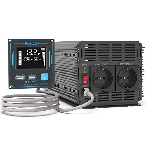 EDECOA Convertisseur 12v 220v Pur Sinus 2000w avec télécommande 2 Ports USB et écran LCD pour Camping-Car Panneau Solaire et Voiture Power Inverter