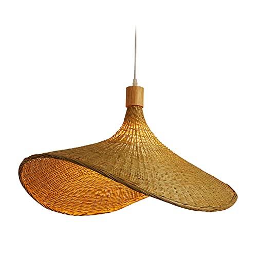 MagiDeal Lámpara Colgante de ratán, Linterna, Estilo Retro japonés E27, lámpara Colgante, lámpara de Techo, Accesorio de iluminación para Restaurante, Los 40cm