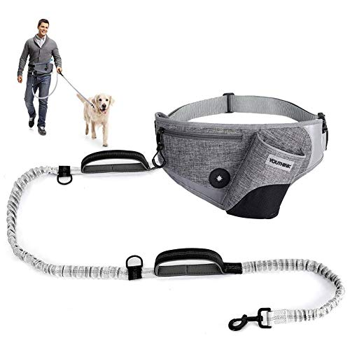 "Hands Free Dog Leash for Running Walking Jogging Training Hiking, Shock Absorbing Bungee Leash up to 80lbs Large Dogs, Phone Pocket Water Bottle Holder, Fits All Waist Sizes from 18"" to 46"""