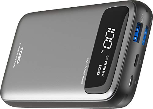 TOZO PB2 PD+QC 3.0 Fast Charger 20000mAh with Visible...