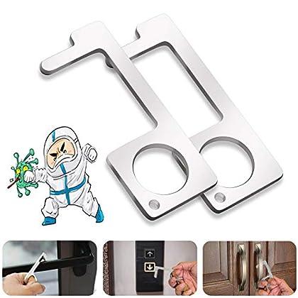 【2 Pack】Abridor de puerta de latón sin contacto,Higiene Cierra puertassin contacto,Portátil De múltiples fines Salud…