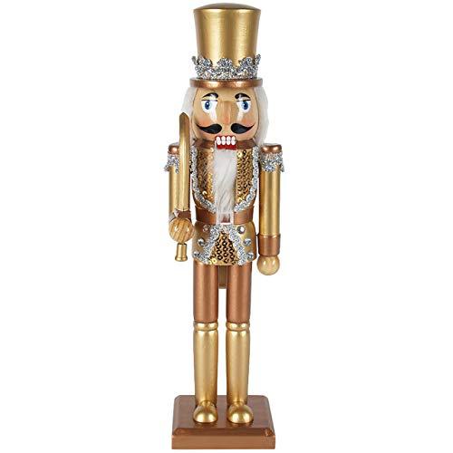 OBC-Kunsthandwerk Nussknacker Holzfigur Soldat mit Schwert Gold-Kupfer / 38 cm/Deko Figur Nussknacker Holz/handbemalt im Erzgebirge Stil/weihnachtlich dekorieren