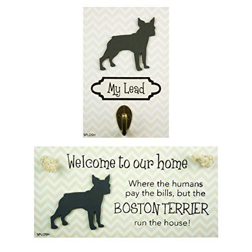Precious-Pets Hundeplakette und Hundeleine Hakenpackung, Boston Terrier, lustige Schilder, Geschenk für Mütter, Hundezubehör, Hausmaterial