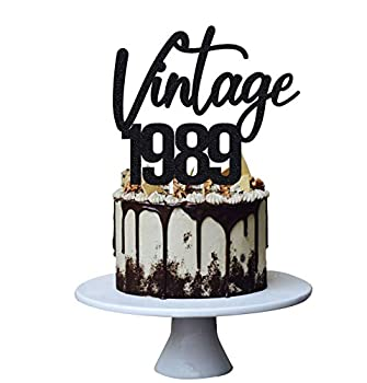 Vintage 1989 Cake Topper for 32nd Men and Women Birthday Decoration ,Funny 32 Year Fabulous and Happy Blessed Party ,Handmade  Black)