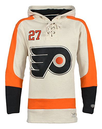 Old Time Hockey NHL Philadelphia Flyers Ron Hextall Men's Player Lacer Name & Number Hoodie, Large, Multicolor