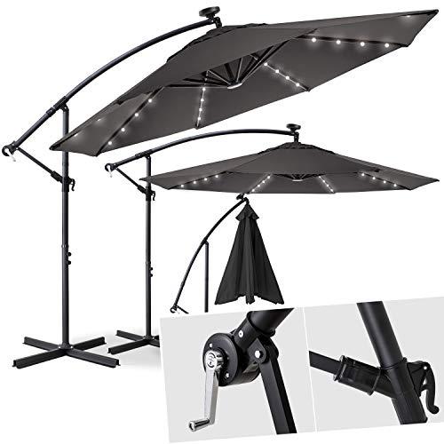 Kesser® Alu Ampelschirm Ø 300 cm LED mit An-/Ausschalter Solarpanel Kurbelvorrichtung UV-Schutz Aluminium Wasserabweisende Bespannung - Sonnenschirm Schirm Gartenschirm Marktschirm Grau