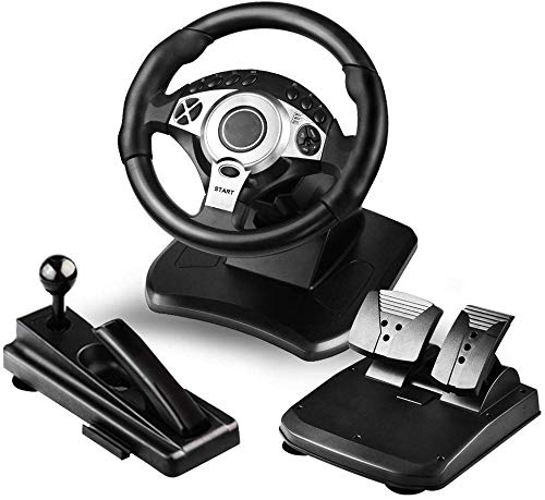 OUJIE Juego Volante De Carreras, Force Feedback Volante con Puerto USB Universal Y con Pedal,Agarre Antideslizante Interfaz USB(PC, PS3, PS4, Xbox One, Switch)