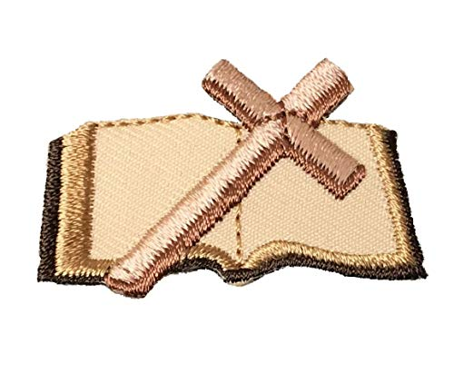 """(1-3/4"""" x 1"""") Open Bible with Cross - Brown/Tan - Christian/Religious - Iron on Applique/Embroidered Patch"""