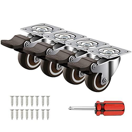 4 ruedas muebles de 32MM 50KG de Capacidad de ruedas giratorias Ruedas para Muebles Rueda Pivotantes Ruedas Con Freno ruedas muebles con freno Ruedas Pequeñas, con 16 Tornillos y 1 Destornillador