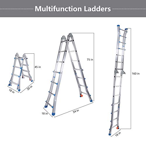 Snow Fox Extension Ladder, 17 Feet Aluminum Extension Multi-Position Ladder Adjustable Telescoping Ladder with Protective Lock and 2 Wheels