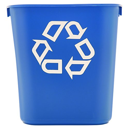 Rubbermaid Commercial Products 3.4gal Plastic Small Deskside Recycling Container- Blue