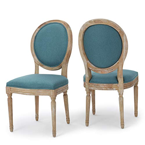 Christopher Knight Home 300256 Phinnaeus Fabric Dining Chairs, 2-Pcs Set, Dark Teal