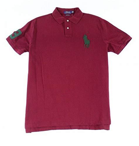 Polo Ralph Lauren Mens Custom Slim Fit Mesh Big Pony Polo Shirt (M, Burgundy Red)