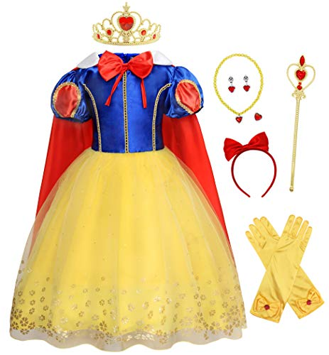 AmzBarley Princess Dress for Girls Halloween Costume Kids Holiday Fancy Party Cosplay Dress Up Birthday Outfit Role Play Clothes with Accessories Size 2T(1-2Years)/Tag 90