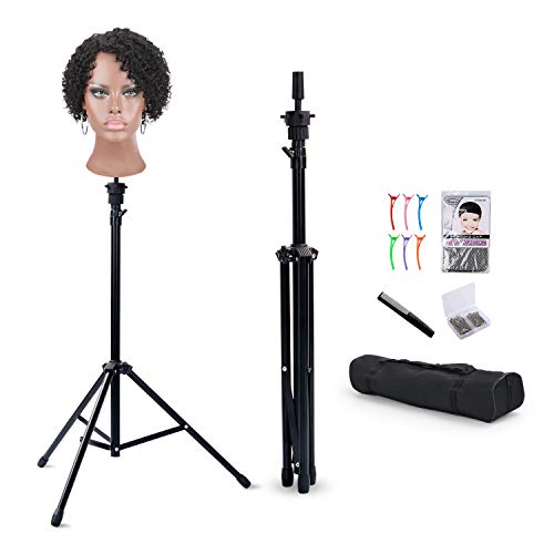Klvied Reinforced Wig Stand Tripod Mannequin Head Stand, Adjustable Wig Head Stand Holder for Cosmetology Hairdressing Training with T-with Wig Caps, T-Pins, Comb, Hair Clip, Carrying Bag