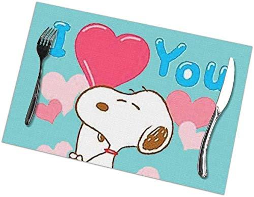 AEMAPE Manteles Individuales Love You Sn-oopy Aislamiento térmico Resistente a Las Manchas, Antideslizante, Lavables, para Comedor, Cocina, Restaurante, Juego de Mesa o 6,12 x 18 Pulgadas