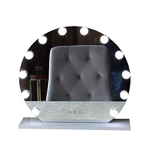 ZHIFENGLIU Espejo De Maquillaje Hollywood con Luces LED, Espejo De Tocador Cosmético Grande con Control Táctil, Espejo De Tocador De Sobremesa para Tocador, Tocador De Sobremesa, Blanco,40 * 35CM